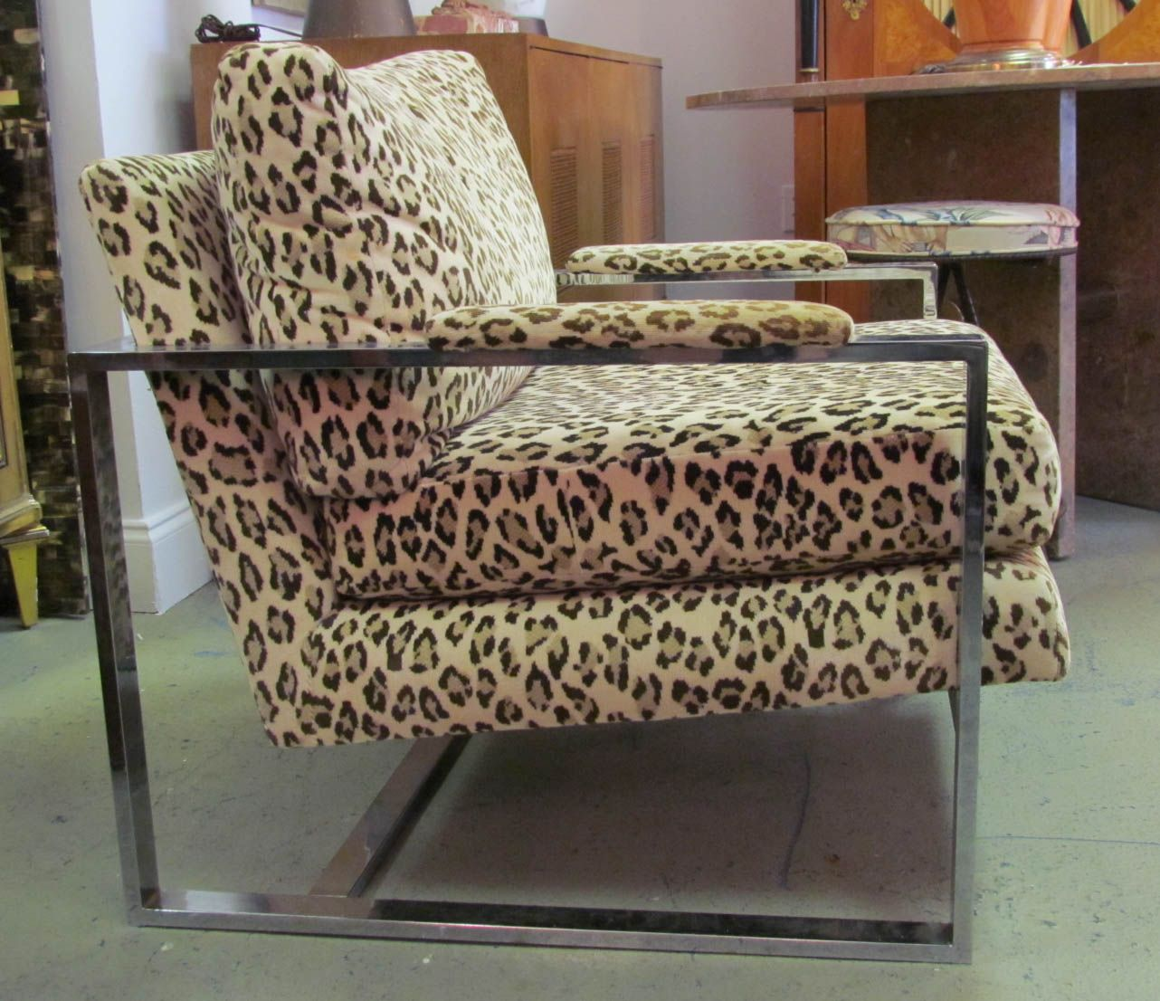 Glamorous Animal Print Accent Chairs Collection : Contemporary 1970s Milo  Baughman Leopard Print Accent Animal Inspired