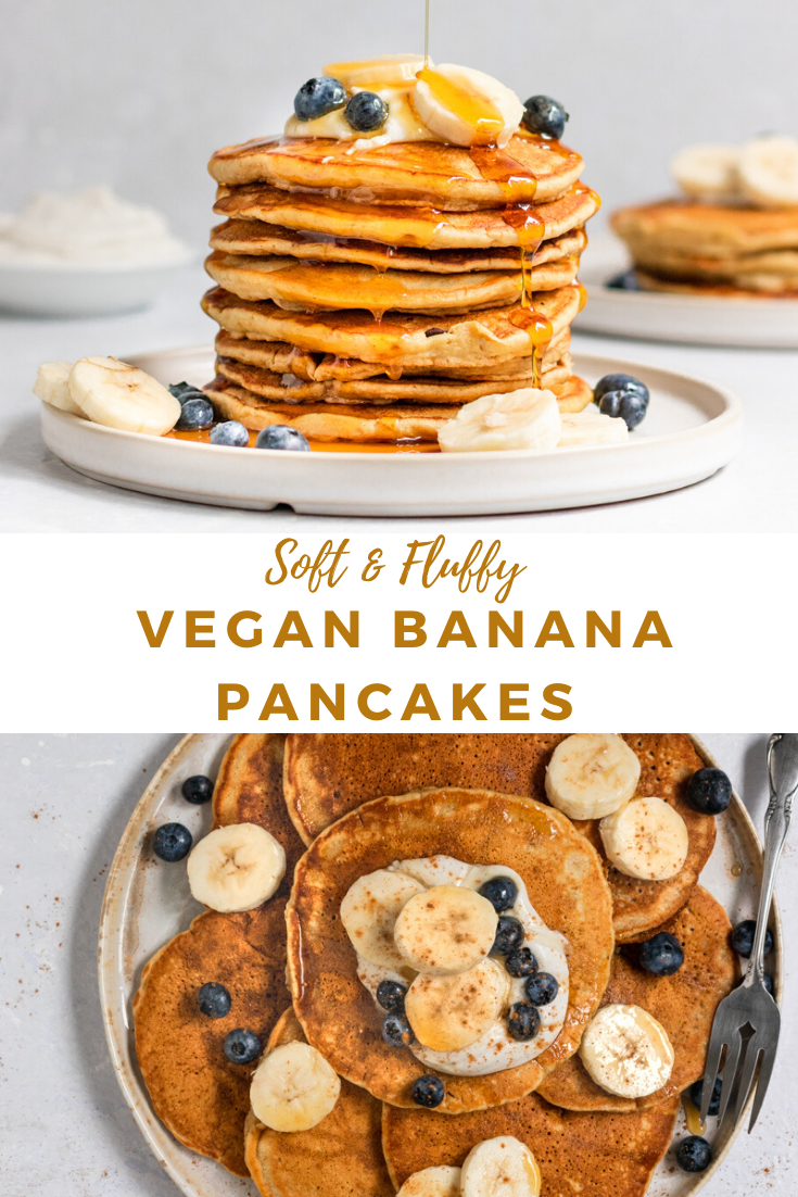 The Fluffiest Vegan Banana Pancakes That Also Happen To Be Refined Sugar Free Oil Free And Easy To Make In In 2020 Vegan Banana Pancakes Vegan Banana Banana Pancakes