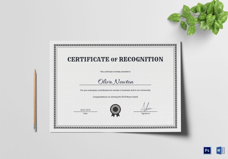 Certificate Of Recognition Template 12 Formats Included Ms Word