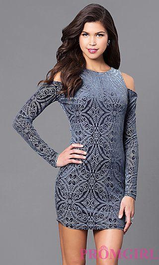 a918a3606f7e Long Sleeve Cold Shoulder Short Velvet Party Dress at PromGirl.com