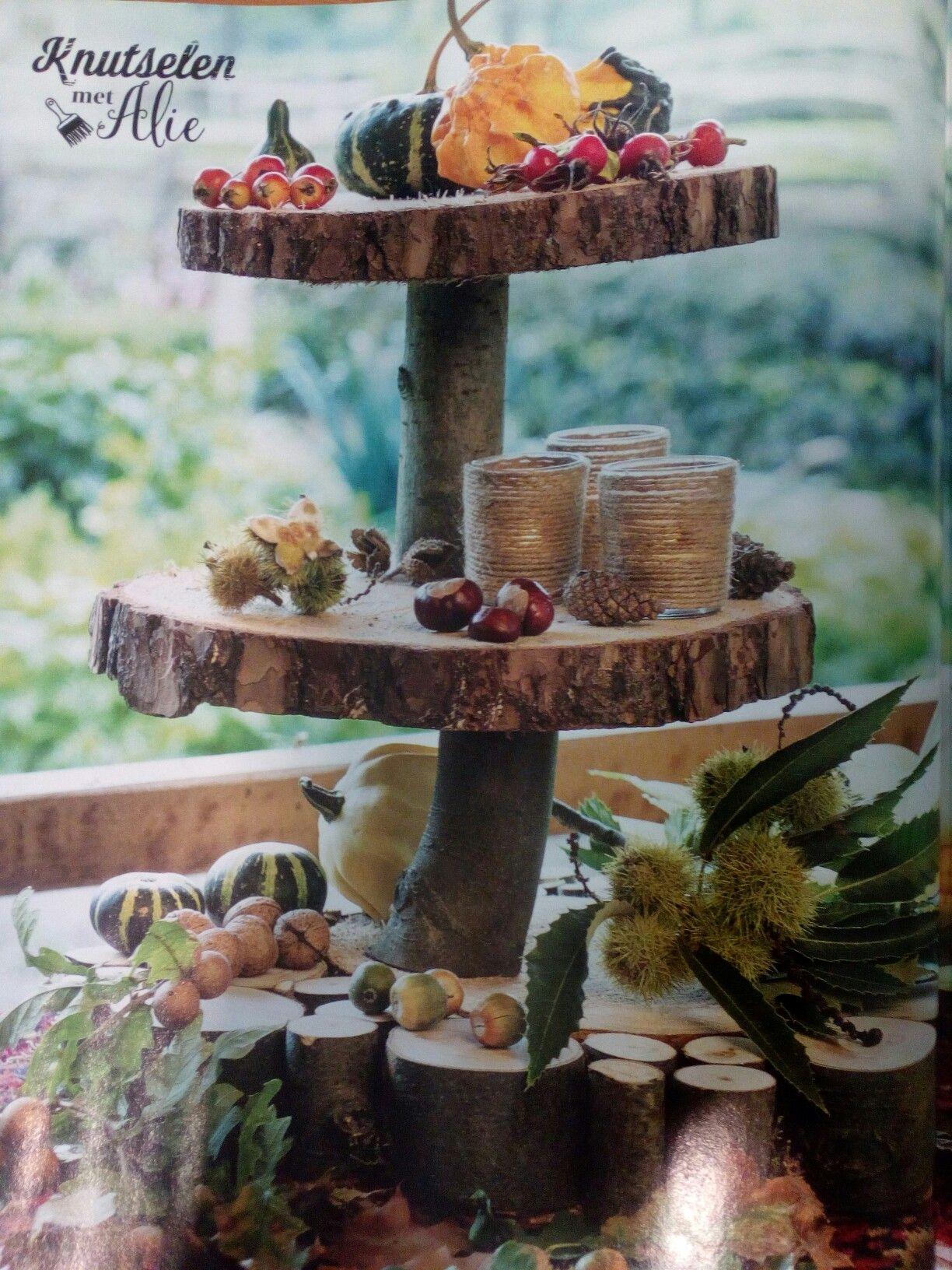 Houten etagere van boomschijven uit landleven met film for Boomschijven decoratie