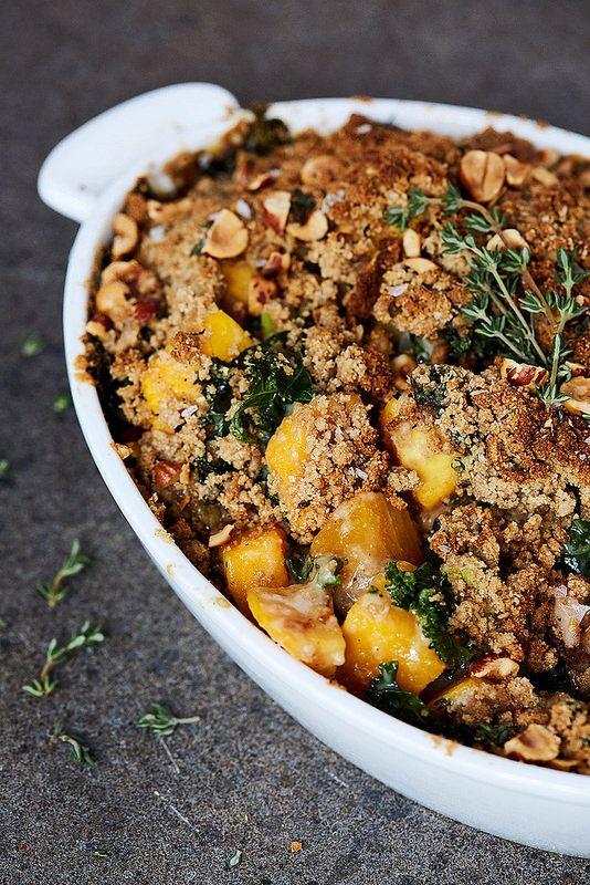 Grain Free Savory Butternut Squash And Kale Crumble