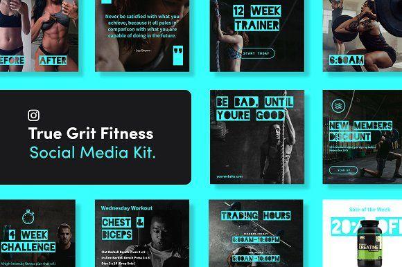 True Grit Fitness Social Media Kit Media Kit Instagram Layout Social Media
