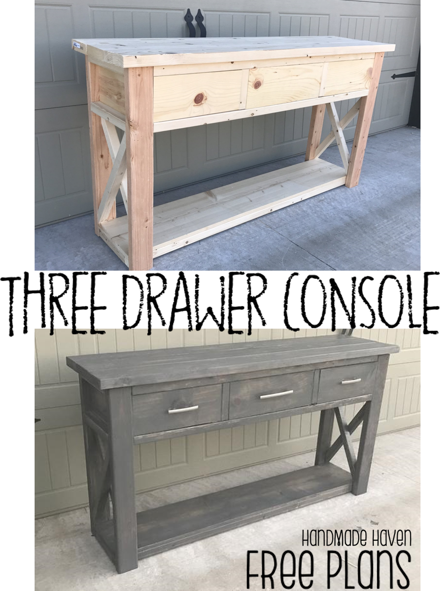 three drawer console   furniture plans   woodworking