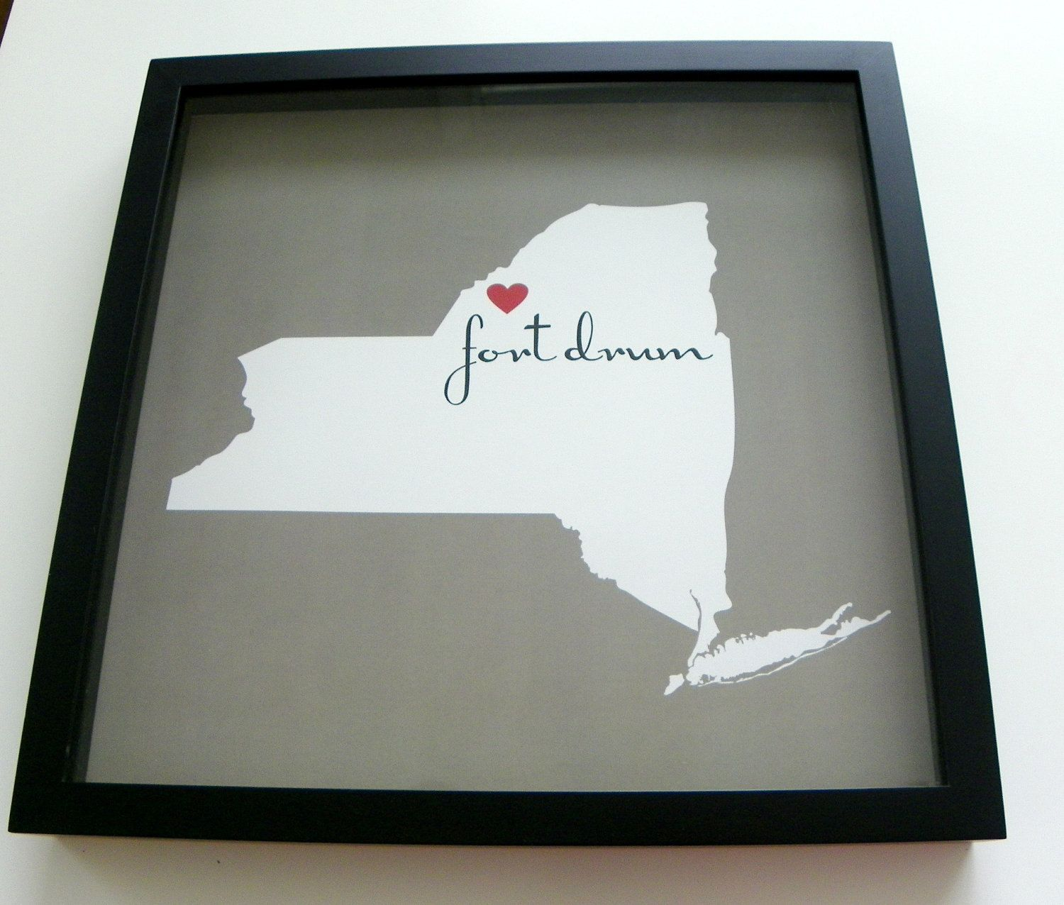 """Custom State Map  FRAMED Print """" Home is Where the Army Sends You"""" - Great Gift for our Military Personnel. $44.00, via Etsy."""