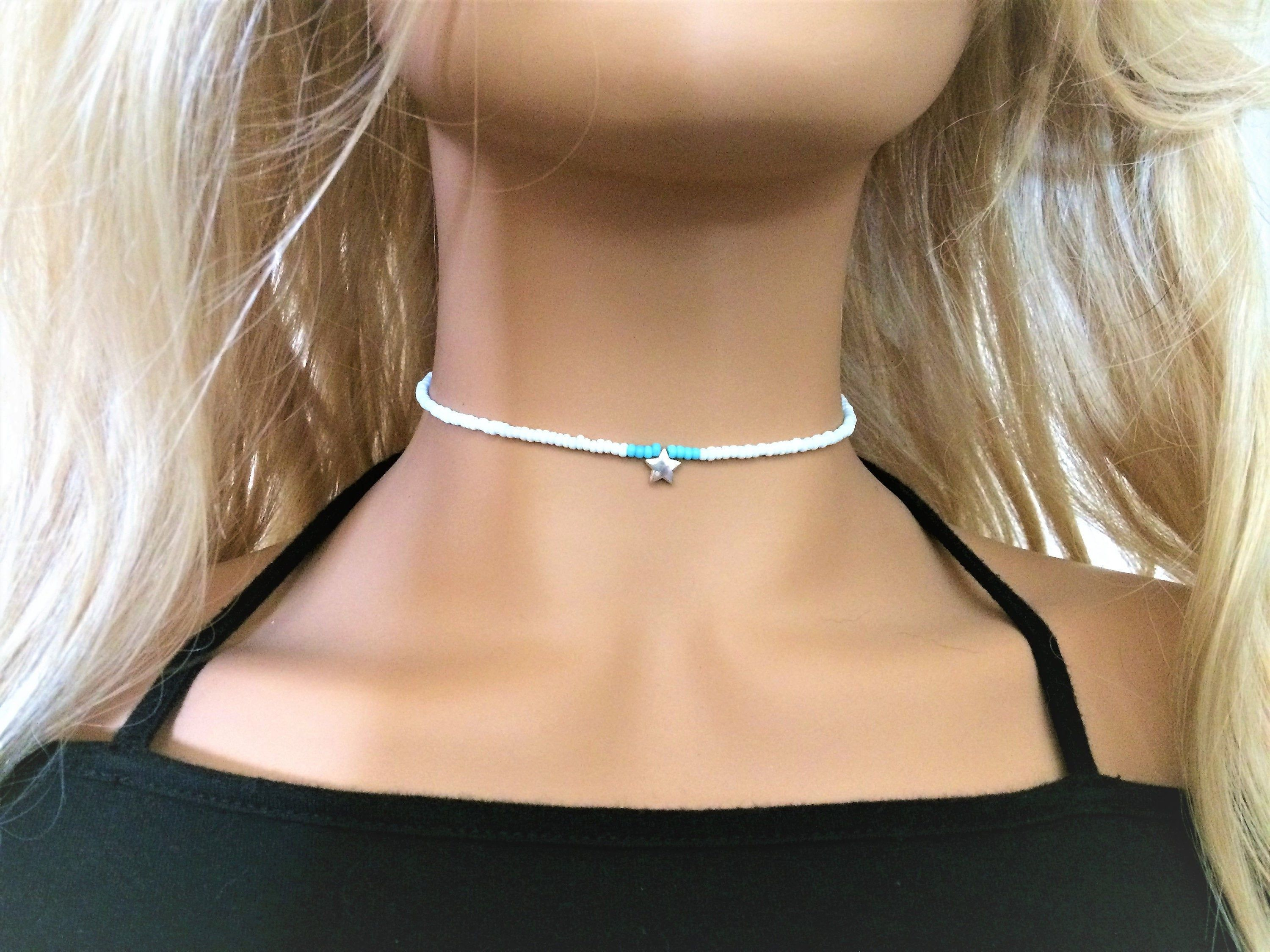 White Beaded Choker Necklace with Star Charm Turquoise Blue   Etsy   Trendy  chokers, Beaded choker necklace, Beaded choker