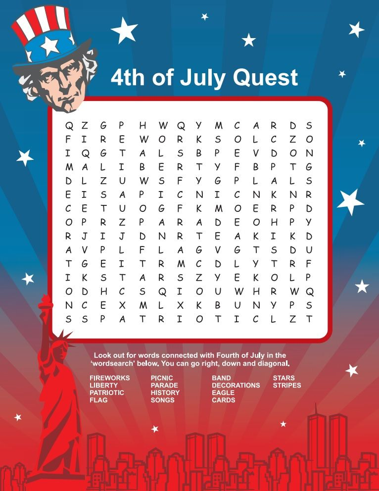 Fourth Of July Word Search Fourth Of July 4th July Food 4th Of July