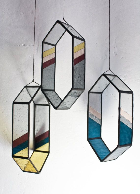 Youth Group Room Designs: Striped Long HEX Stained Glass Elements (set Of 3