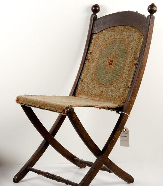 Beau Civil War Era Folding Camp Chair, | Bidsquare