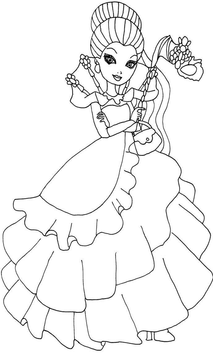 A Coloring Page Of Raven Queen From Ever After High In Her Thronecoming Dress By Elfkena On DeviantArt