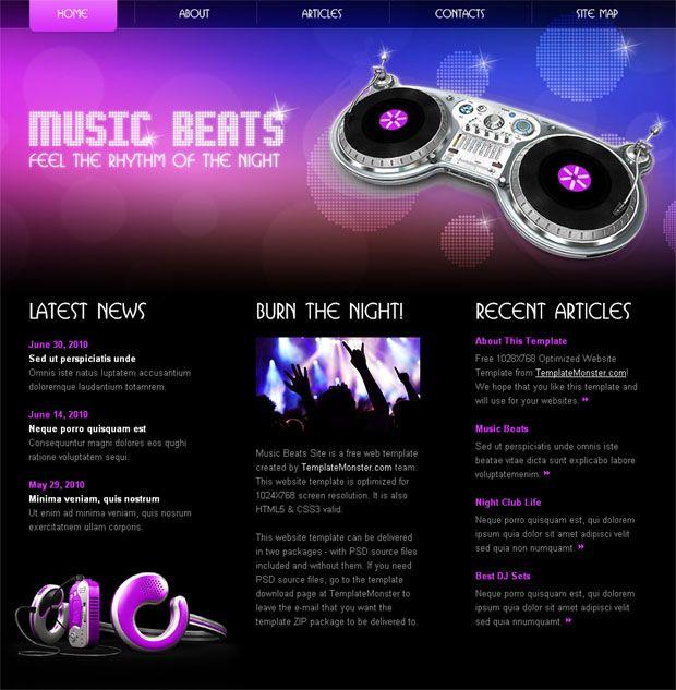 Free Css Website Template 3 Music Website Templates Website Template Music Websites
