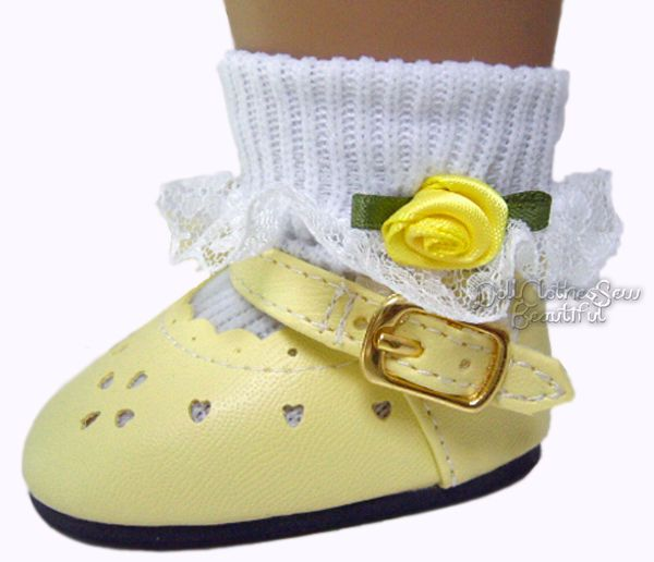 "Yellow Shoes & Rosebud Socks fits 18"" American Girl Doll Clothes Sew Beautiful #DollClothesSewBeautiful"