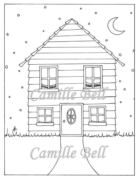 Cute House Coloring Page Adult Coloring Page Download Cute