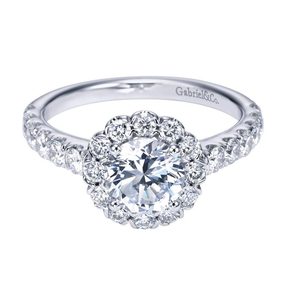 Gabriel & Co 14K White Gold 0.84 ct Diamond Criss Cross Engagement Ring Setting ER7292W44JJ