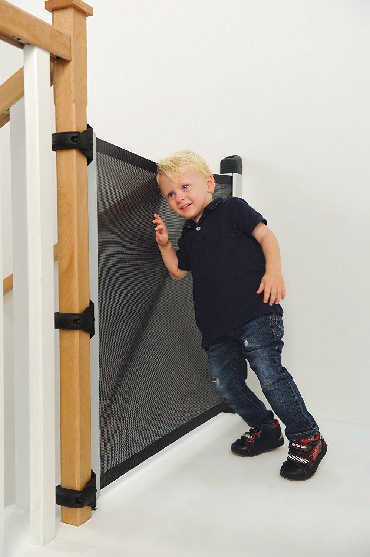 Amazon Com Lascal Kiddyguard Avant Retractable Baby Safety Gate Black Mesh Indoor Safety Gates Baby Gate For Stairs Retractable Baby Gate Diy Baby Gate