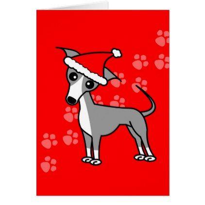 Cute Italian Greyhound Cartoon Red Santa Hat Card - christmas cards