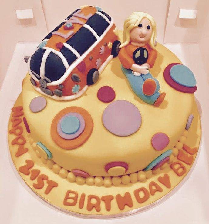Vegan Chocolate Hippy VW Beetle Psychedelic Birthday Cake taking