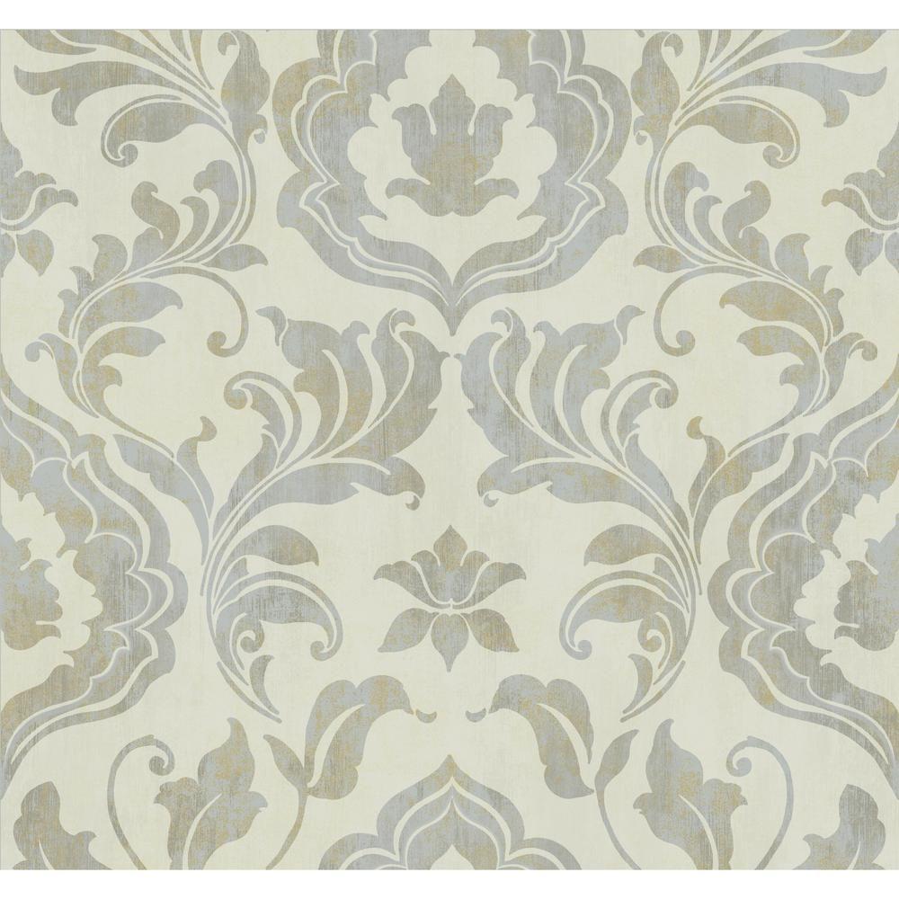 gold leaf contempo damask wallpaper silver