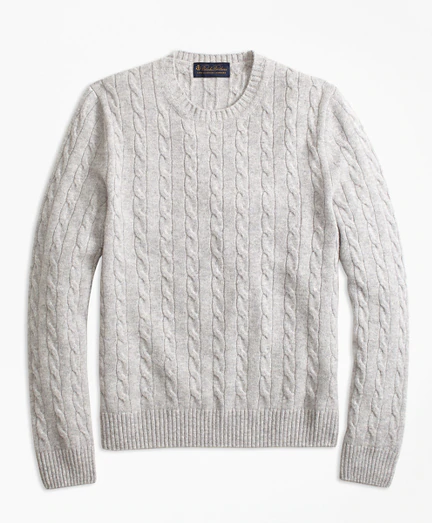 Cable Knit Crewneck Cashmere Sweater Brooks Brothers in