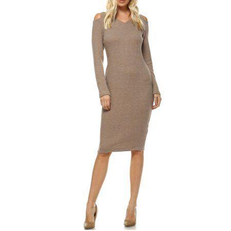 53e40815d7e White Mark Women s Taline Cut-Out Shoulder Midi Sweater Dress