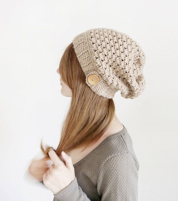 Crochet Wool Hat for Women, Slouchy Wool Hat in Beige, Apple Green ...
