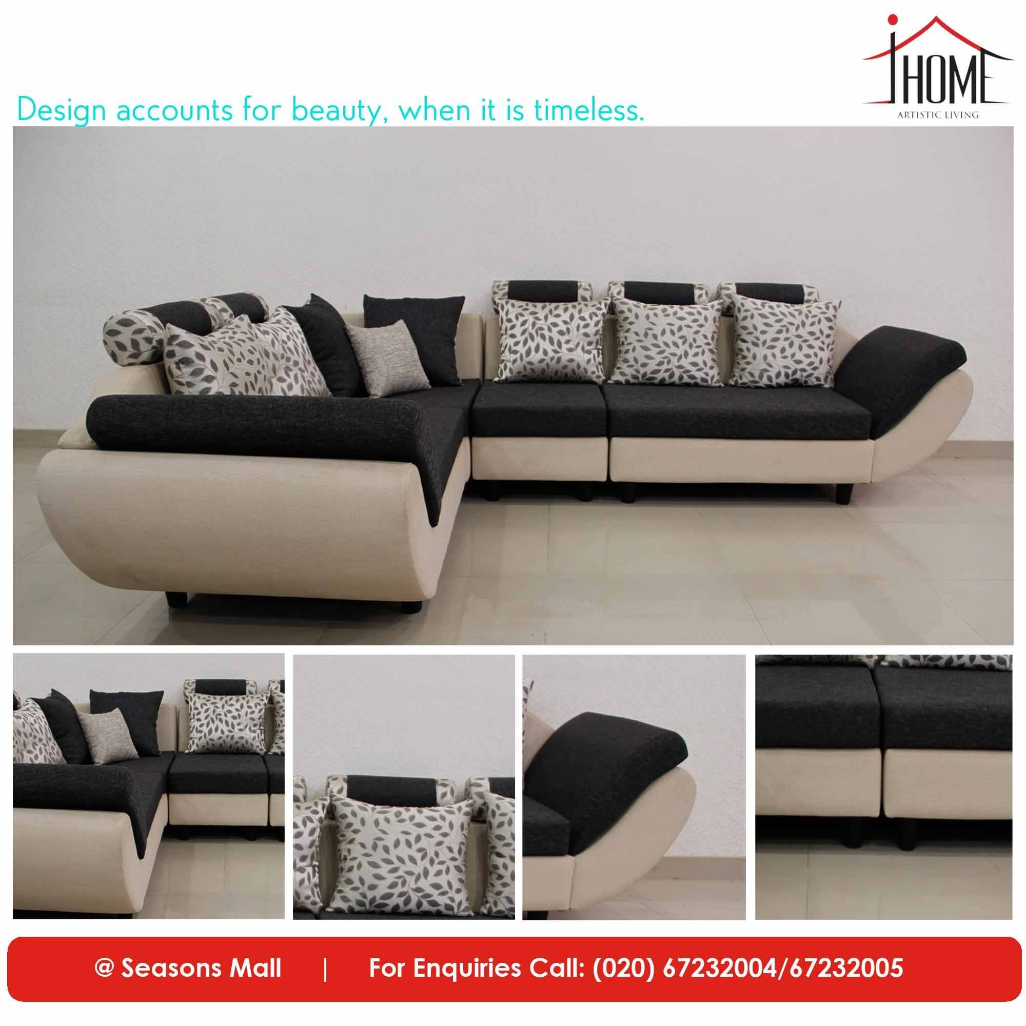 European Style Inspired Cream And Black Sectional Sofaset The