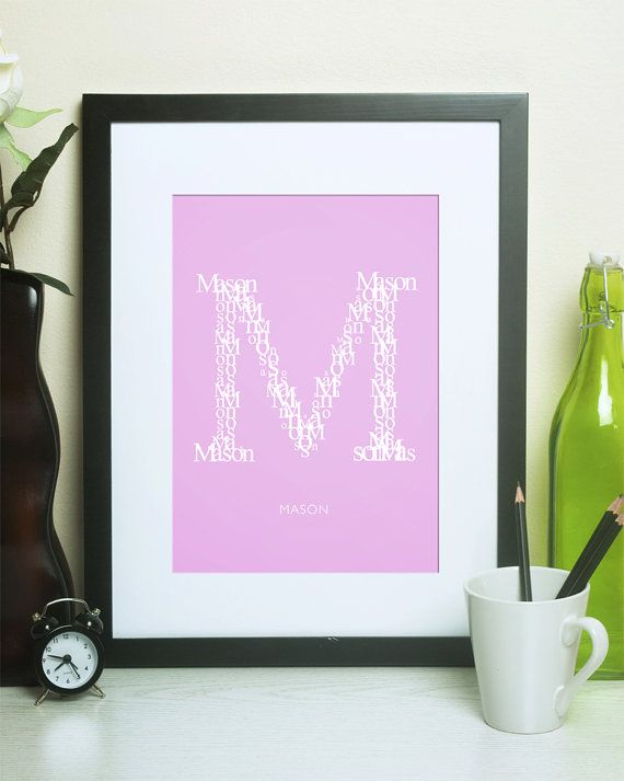 "Letter ""M"" Custom Initial Print for Newborns, Kids, Teenagers and Adults.  A Thoughtful Gift for Personalized Home or Office Decor!  Customized décor to suit the nursery, bedroom, bathroom, dorm or office makes gift-giving easy! Choose from 18 colors and 2 sizes to create the perfect gift :) #LamplightStudioShop"
