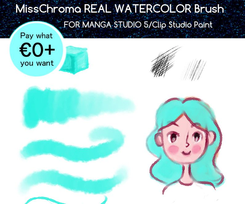 Real Watercolor Brush For Clip Studio Paint Cubebrush Clip