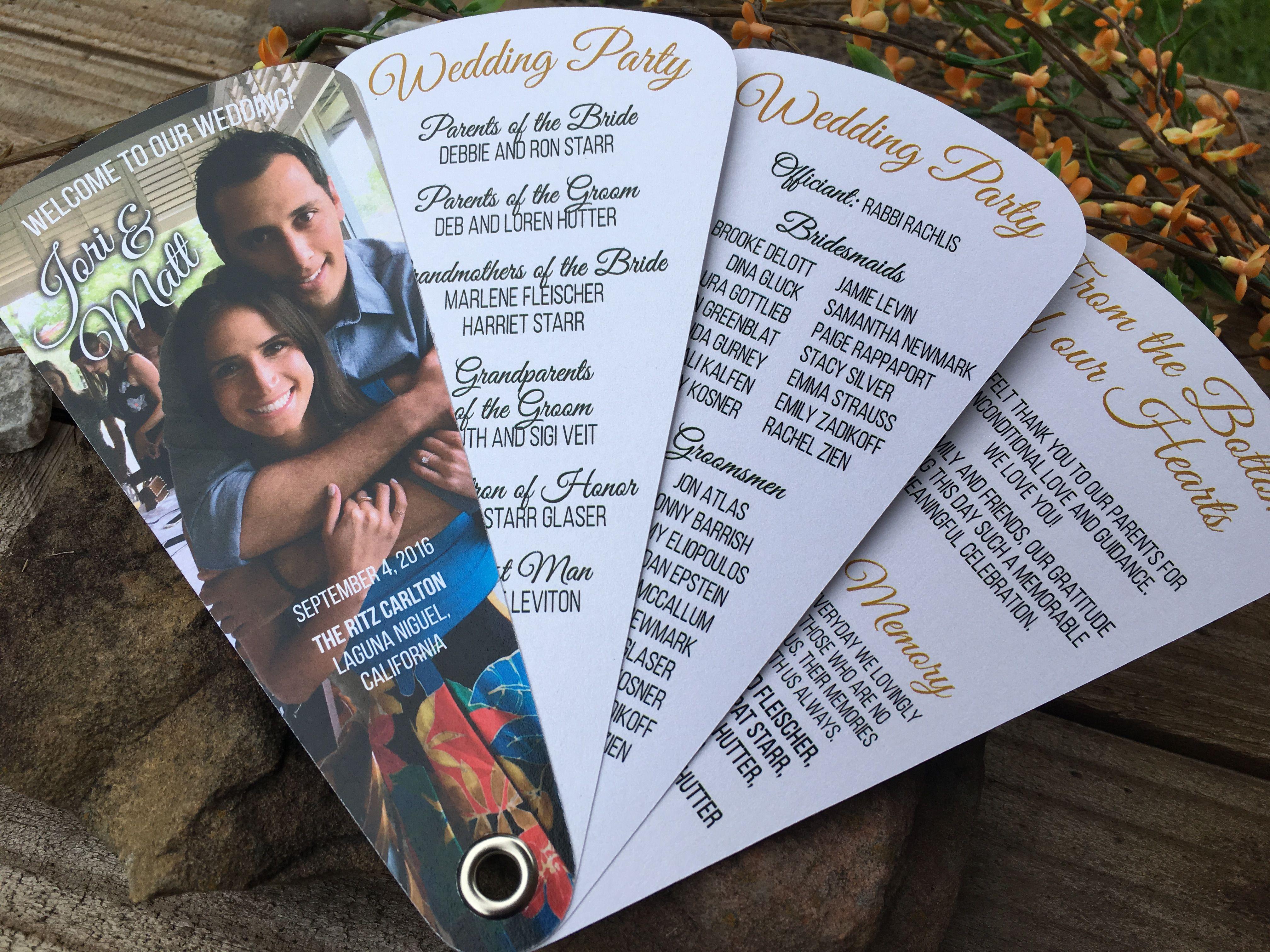 Picture Wedding Fan programs • 107lb Metallic Pearl White