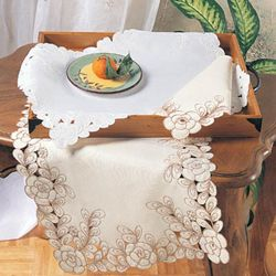 @Overstock - Delicate tonal floral cut-work frames the edges of this oblong table runner. This table linen features a durable polyester construction for ultimate ease of care.http://www.overstock.com/Home-Garden/Embroidered-Floral-Cut-work-16-x-54-inch-Table-Runner/5401837/product.html?CID=214117 $18.99
