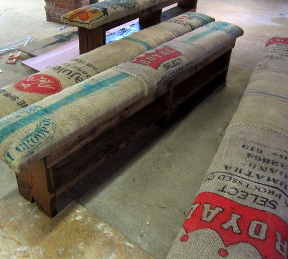 Reclaimed wood and recycled coffee sack monster benches