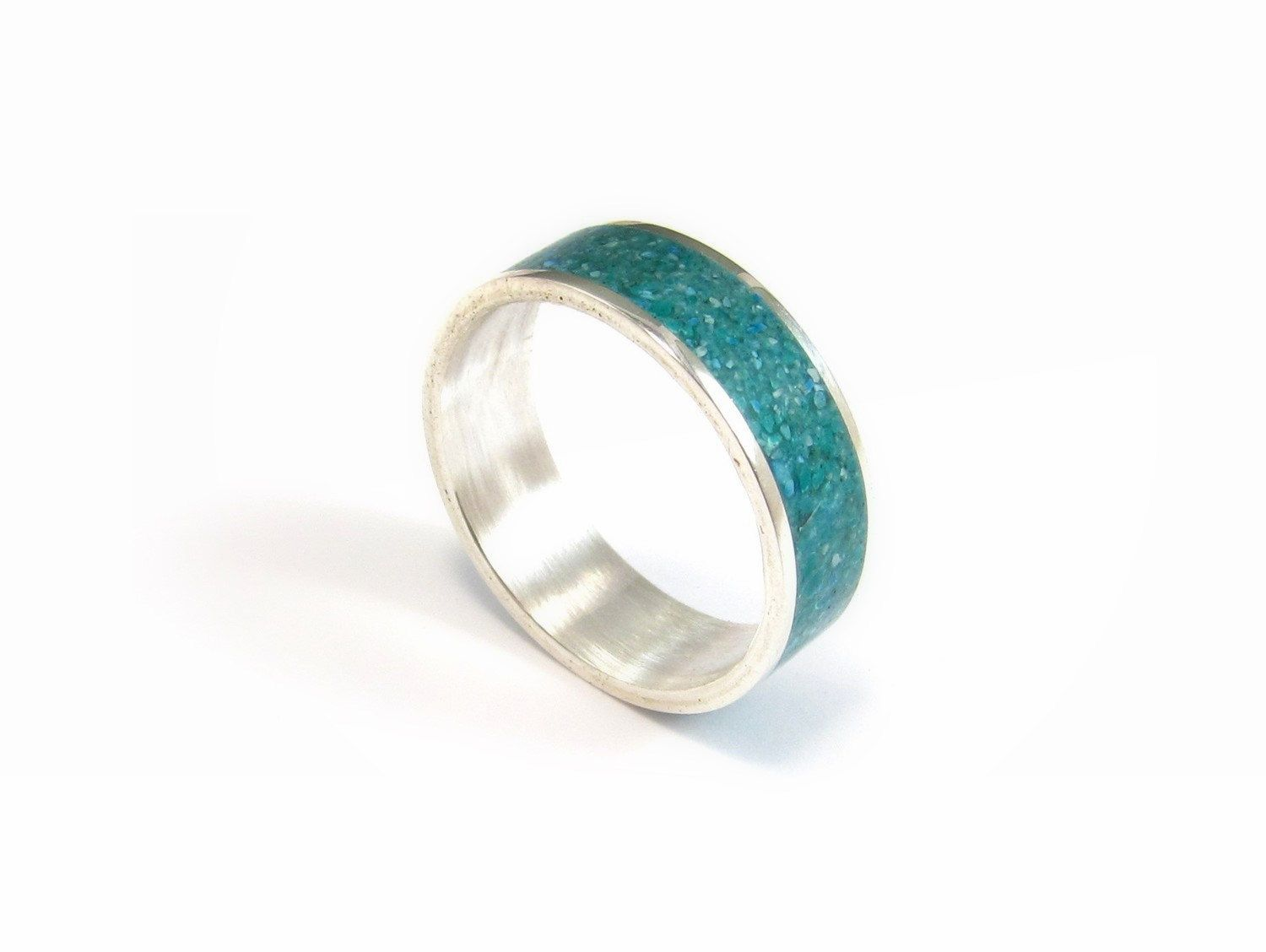 Sterling Silver Ring Turquoise Wedding Band Stone Inlay Contemporary Modern