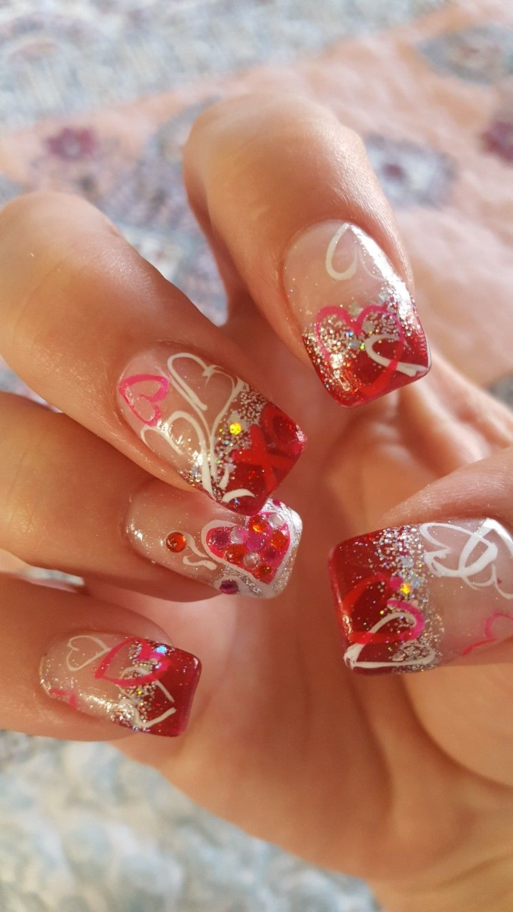 Valentine S Day Nails Nail Designs Valentines Diy Valentine S Nails Valentine Nail Art