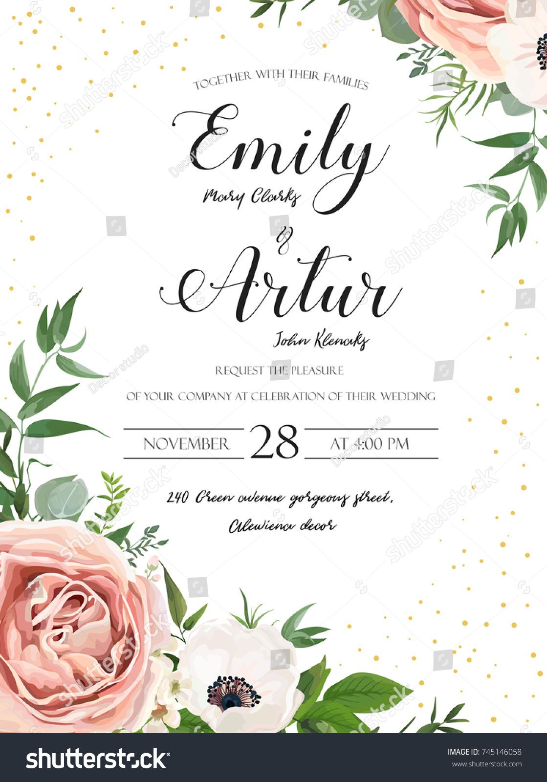Wedding Floral Invite Invitation Card Design Rose Pink Lavender