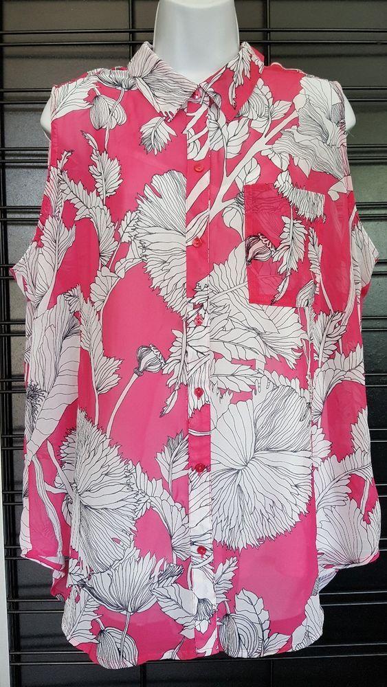 Liz Claiborne Women Plus Size 2x Blue Coral Floral Knit Top Tunic Blouse Shirt