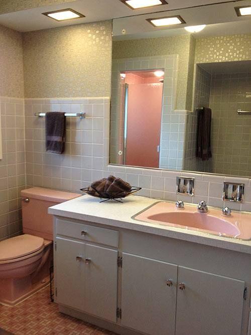 Retro Bathroom Idea For Our Horrible Pink Bathtub Sink Pink