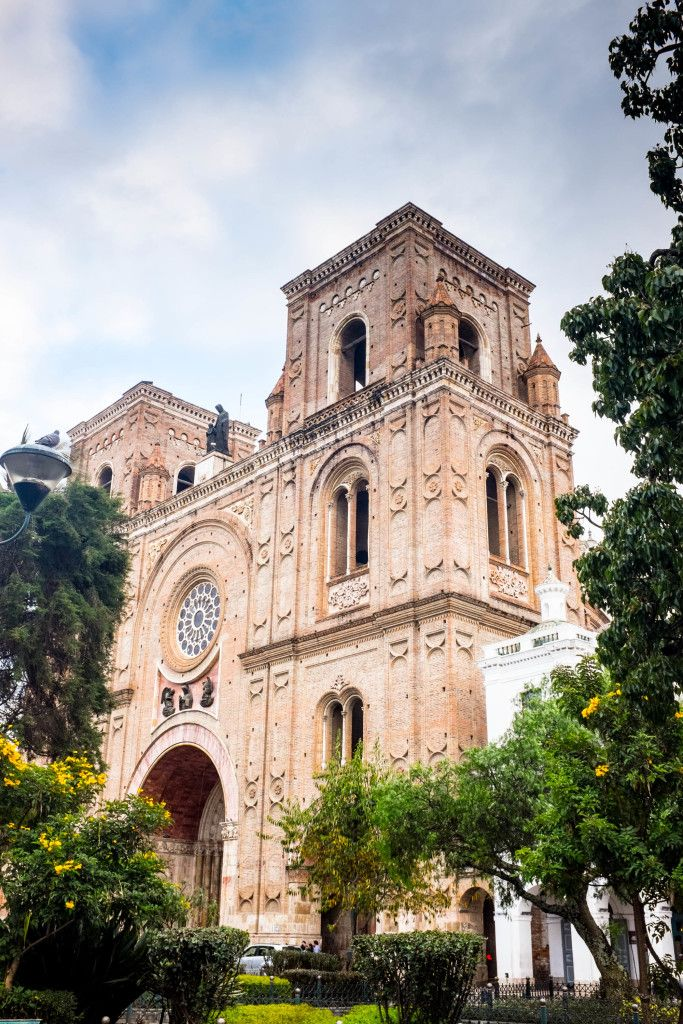 Find out where to go when you're in Cuenca Ecuador! This gorgeous facade is the front of the Catedral Nueva, famous for its blue domes. See more --> Cuenca, Ecuador: A Wanderer's Dream