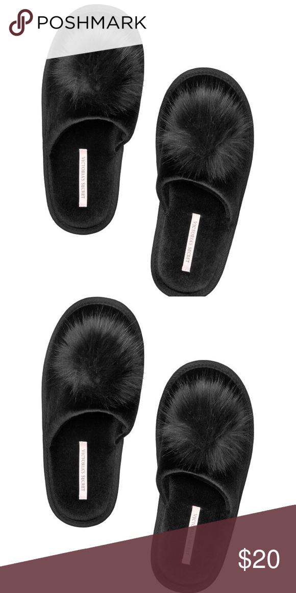 5d36a743949bb Victoria's Secret Black Pom Pom Slippers Medium Victoria's Secret ...