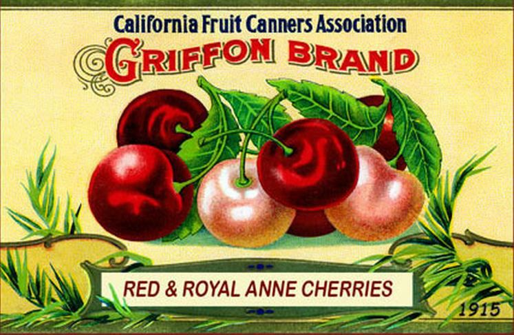 Vintage Can and Crate Labels - Griffon Brand Red & Royal Anne Cherries - circa 1915