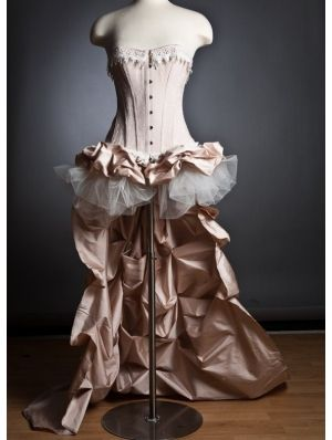 Pink Romantic Gothic Burlesque High-Low Corset Prom Dress