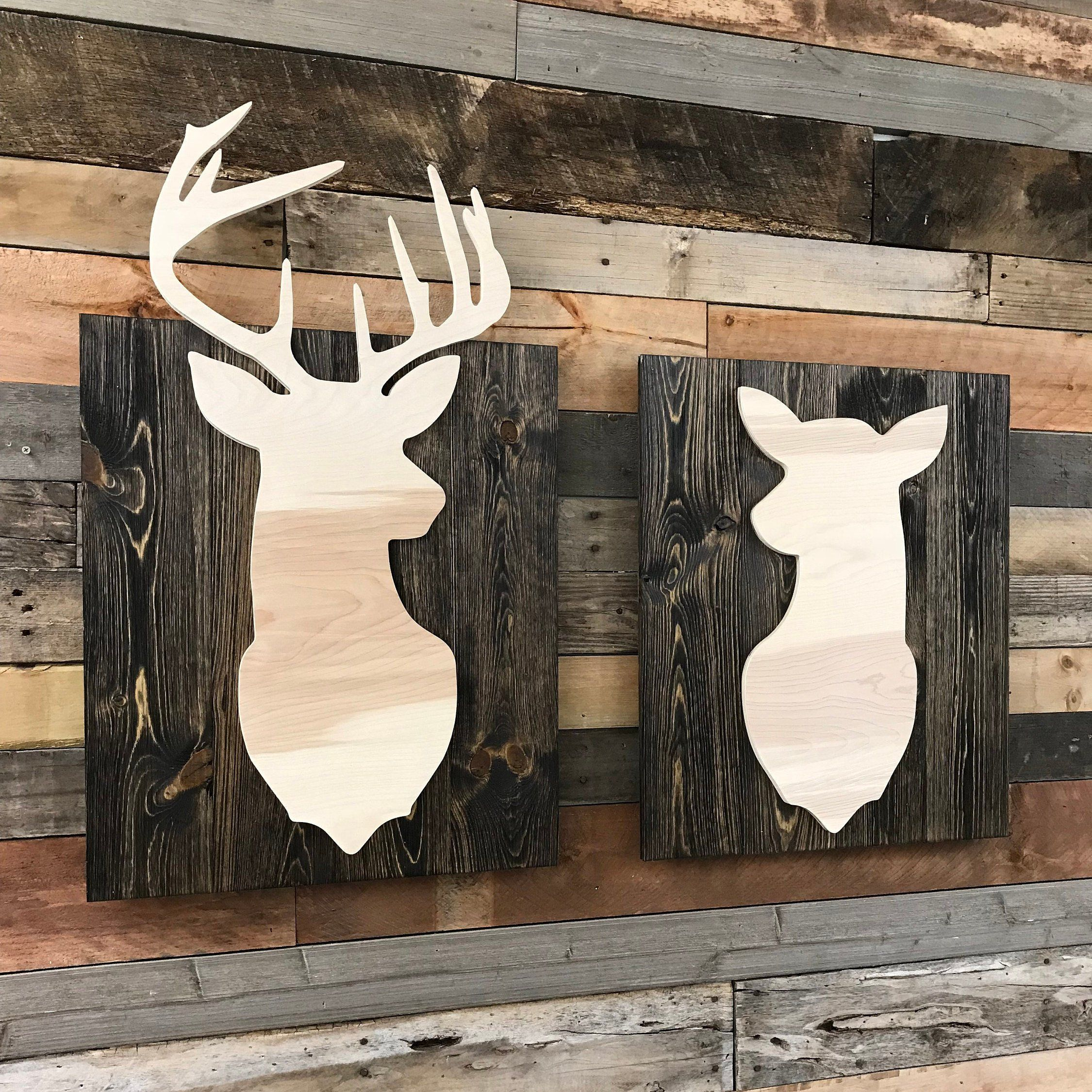 Buck And Doe Deer Wood Wall Art Etsy Buck And Doe Etsy Wall Art Wood Wall Art
