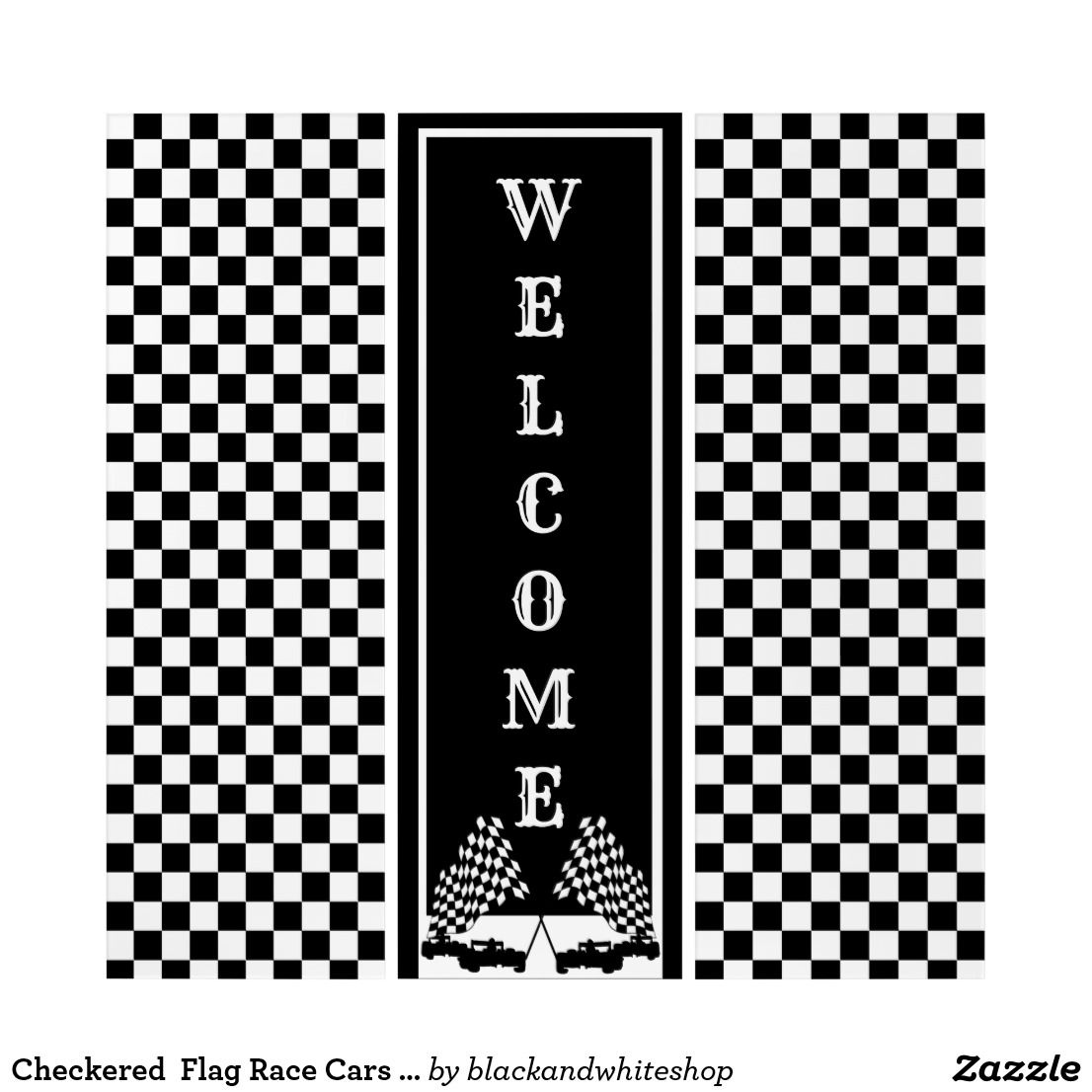 Checkered Flag Race Cars Welcome Triptych