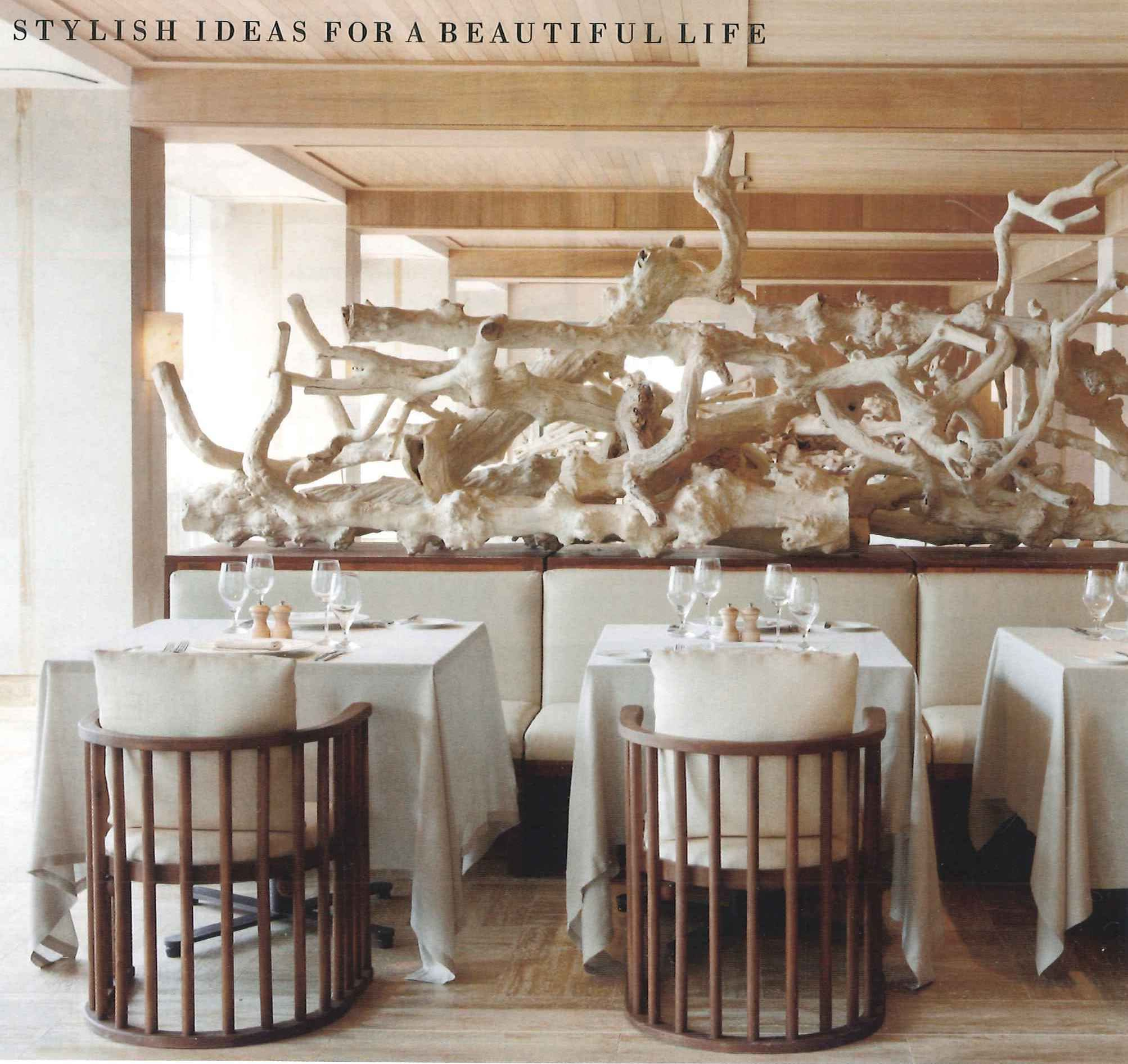 Artistic driftwood display resort interior kelly wearstler hospitality design elle decor porches