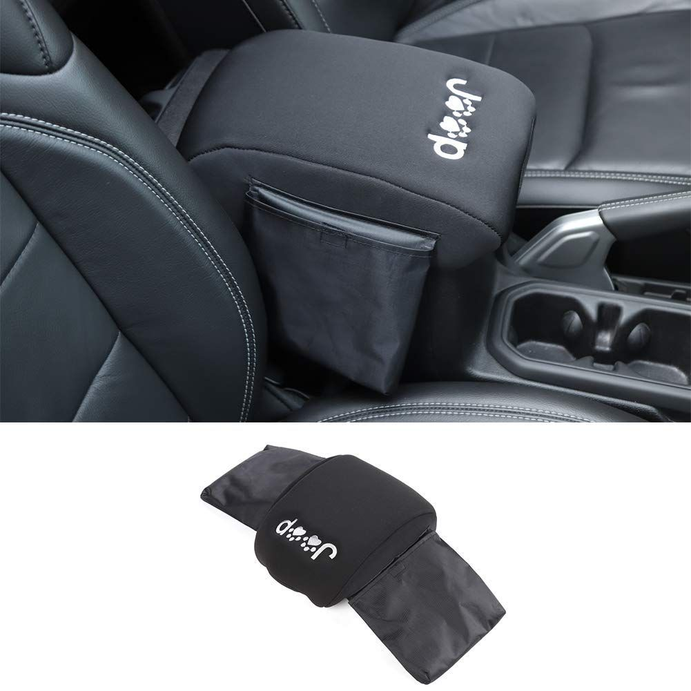 Bestmotoring Center Console Armrest Pad Cover,Velvet Black