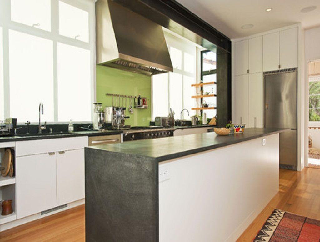 Grey Countertops grey countertop, white cabinets | tigerwood flooring kitchen