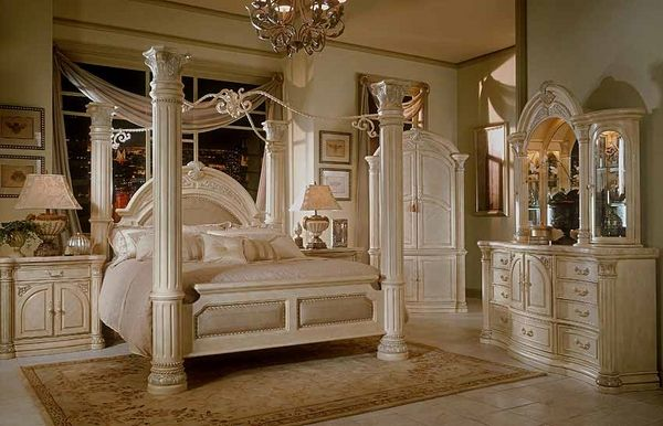 luxury white bedroom furniture four poster bed massive pillars with
