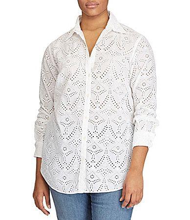 6733222ac82 Lauren Ralph Lauren Plus Eyelet Cotton Shirt  Dillards- 81.00 ...