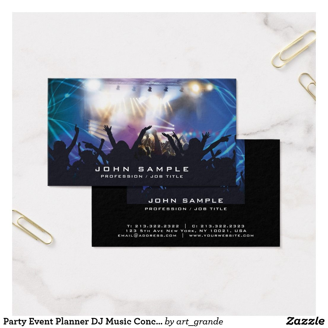 Party Event Planner DJ Music Concert Disco Business Card