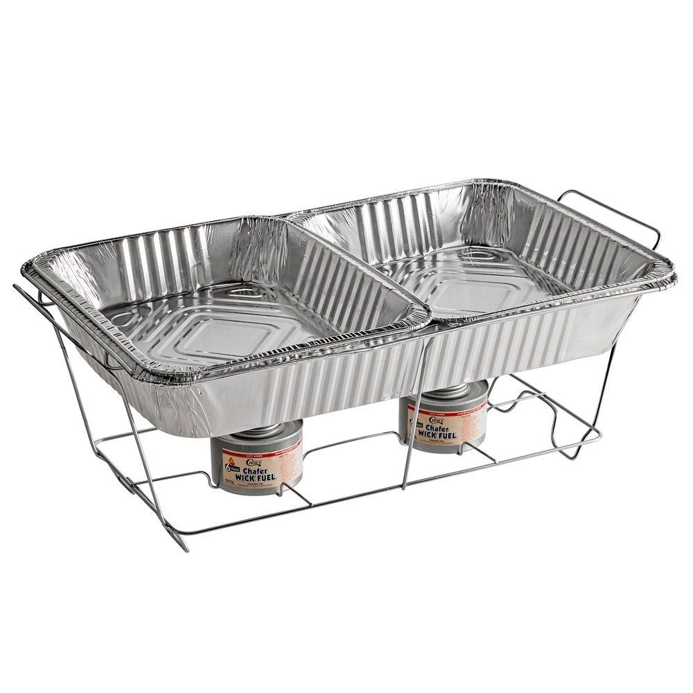 Choice Full Size Disposable Wire Chafer Stand Kit With Wick Fuel Hotel Supplies Steam Table Pans Storage Spaces