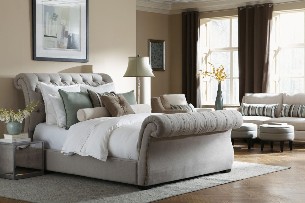 Chesterfield Fabric Sleigh Bed With Footboard Restoration